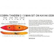 Cobra Tandem 2 or 3 man sit on kayak