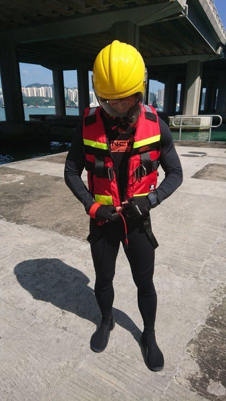 ncw 2mm long john wetsuit jetskiing with hong kong fire brigade