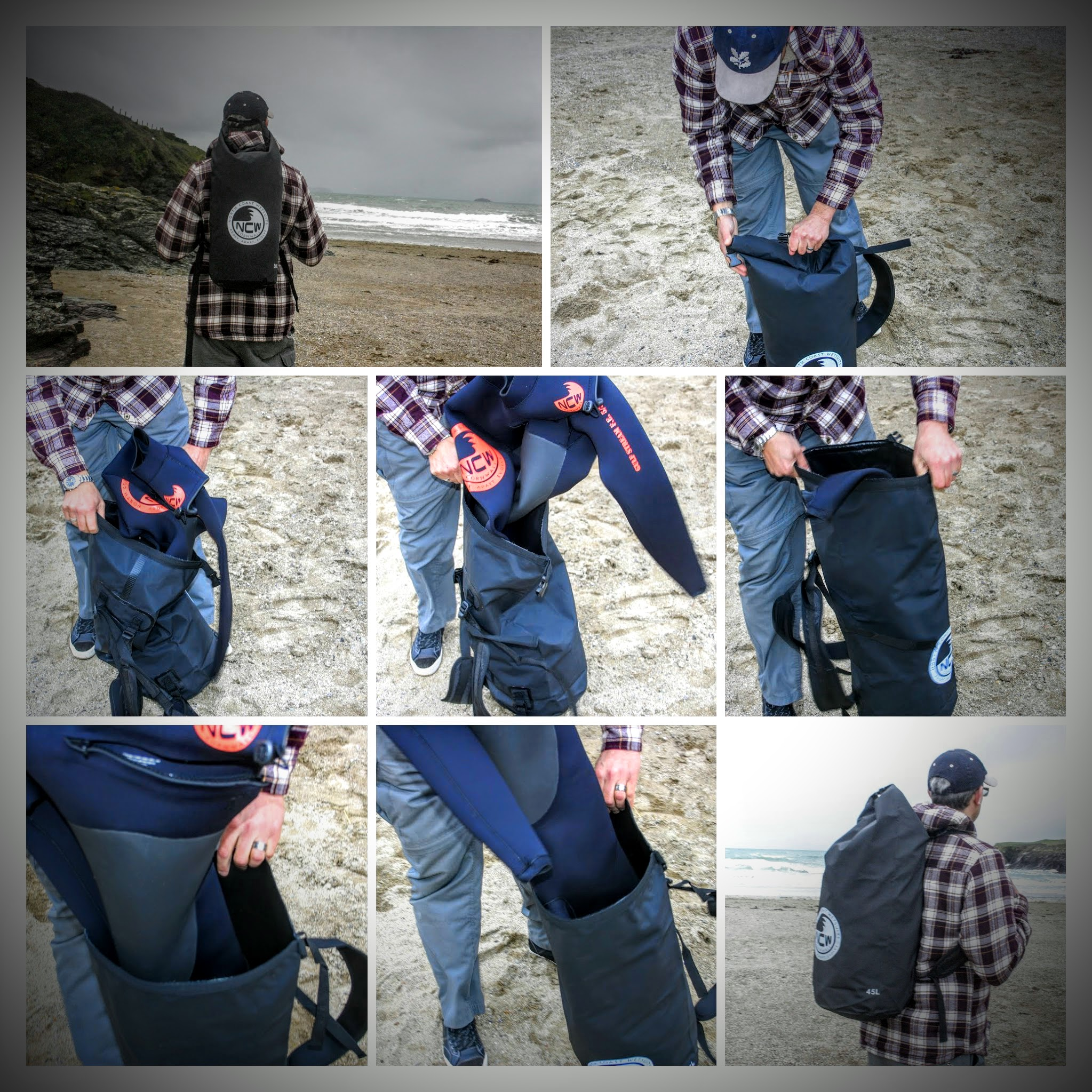 45L dry bag rucksack WETSUIT COLLAGE