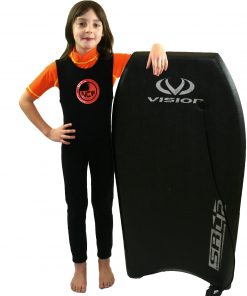 NCW kids short sleeve UV50 rash vest and 2mm thermal long john wetsuit combination