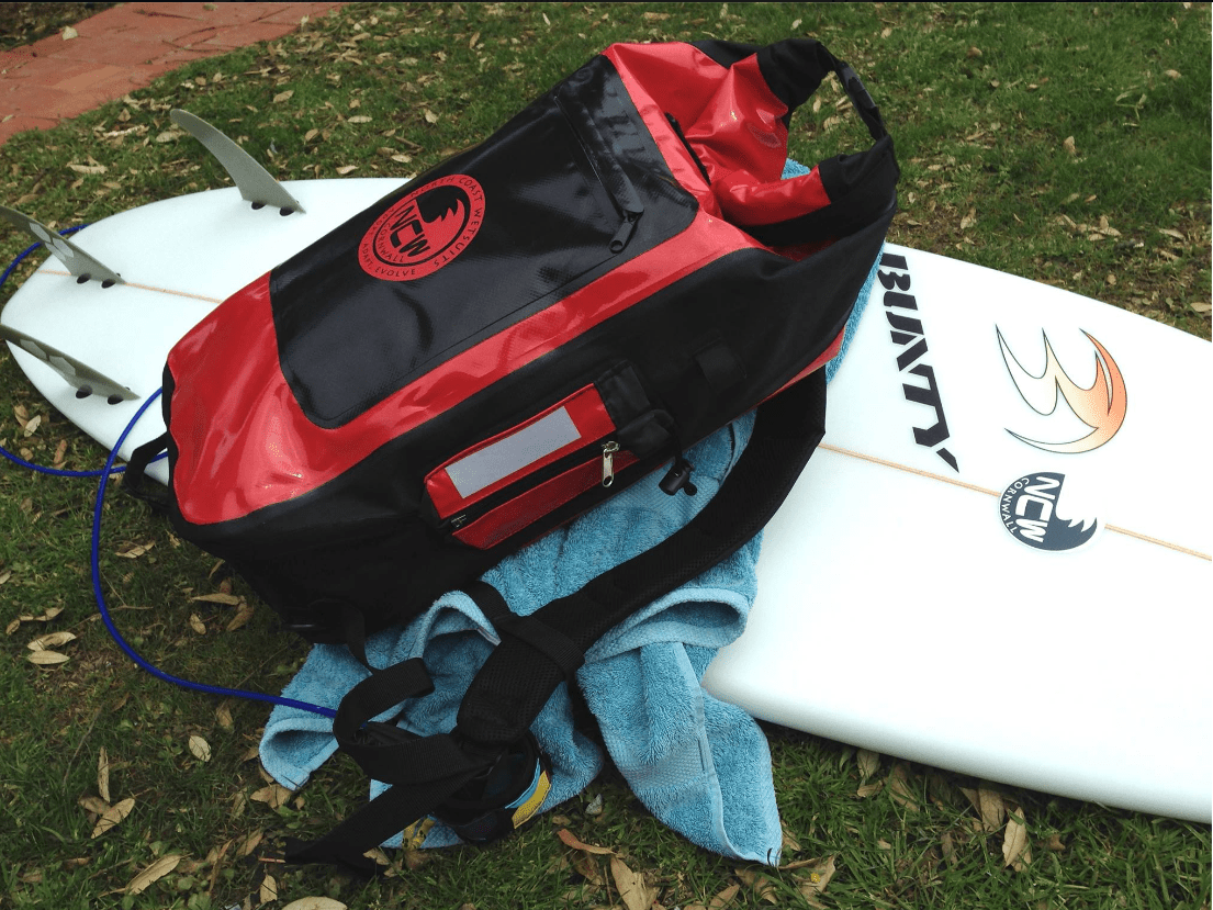 NCW 30L backpack drybag goes for a surf