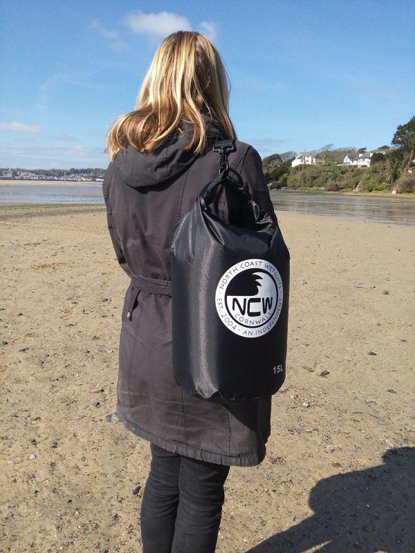 15l ripstop dry bag black on shoulder