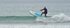 SUP surfing with NCW long John wetsuit