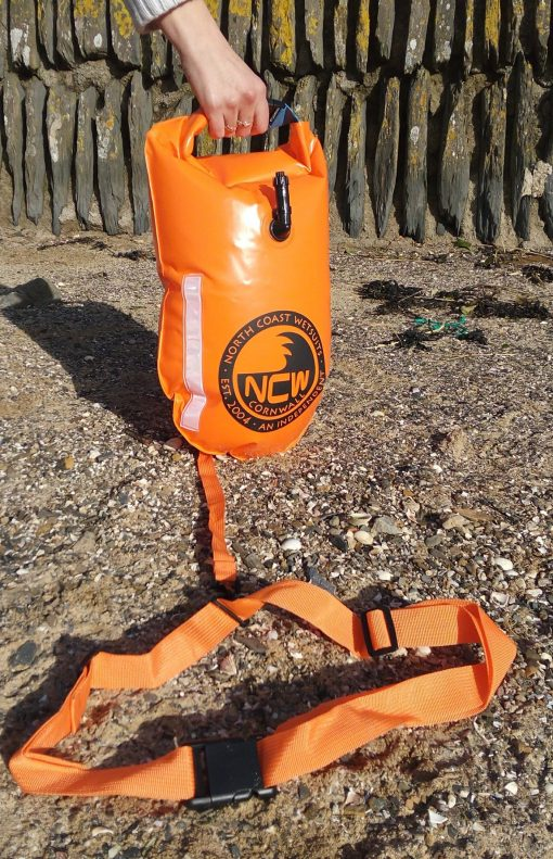 15L swim float tow drybag inflated showing tow strap