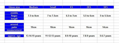 kids wetsuit glove size chart