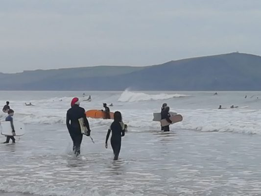 Christmas fun in the Surf at Polzeath, North Cornwall