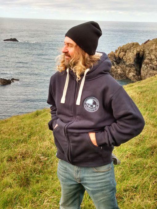 NCW Sherpa line fleece hoodie.