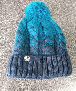 ncw sherpa fleece blue green bobble hat