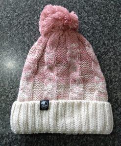 pink creme NCW ombre pom pom hat