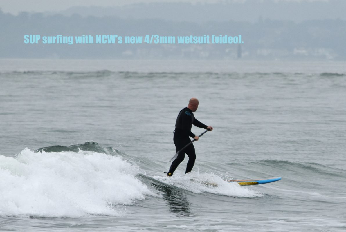 SUP surfing with NCW's new 4/3mm wetsuit (video).