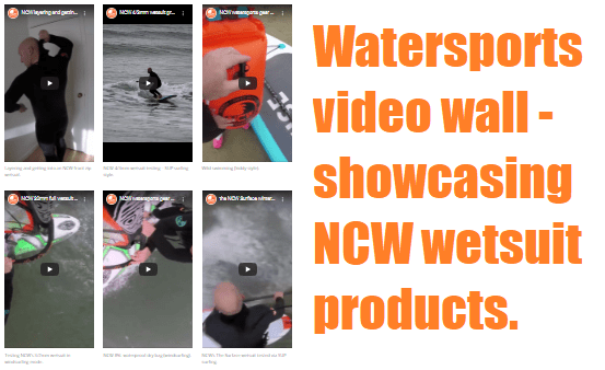 Watersports video wall - showcasing NCW wetsuit products.