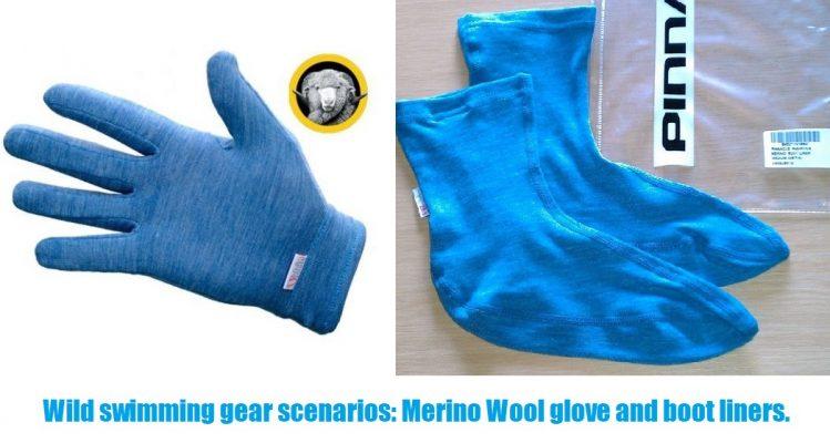 Wild swimming gear scenarios Merino Wool glove and boot liners.